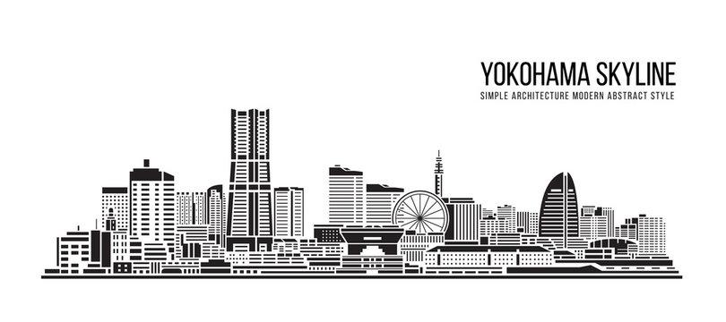 Cityscape Building Simple architecture modern abstract style art Vector Illustration design - Yokohama city