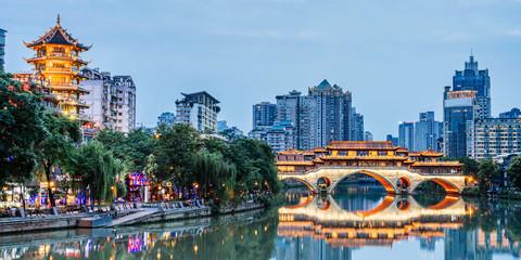 Night view of Anshun Bridge, Chengdu, Sichuan, China