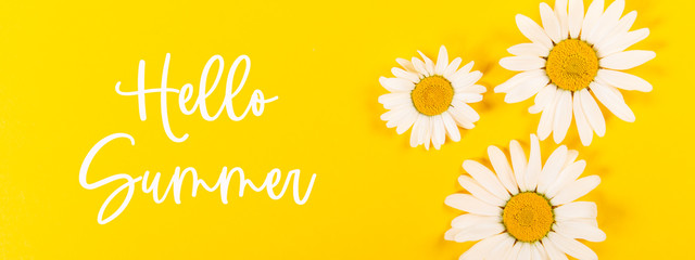 Photo sur Aluminium Fleur Floral camomile pattern with Hello Summer phrase on bright yellow background, top view, flat lay, banner