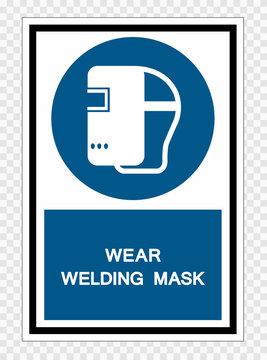 Wear Welding Mask Symbol Sign Isolate on transparent Background,Vector Illustration