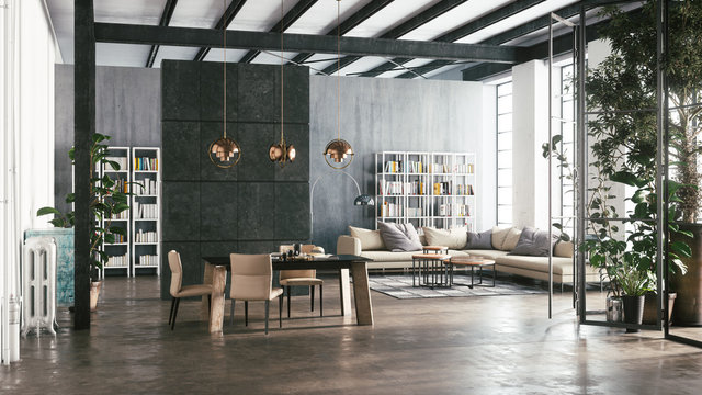 Interior design in the living room. Living room with dining area. 3d illustration