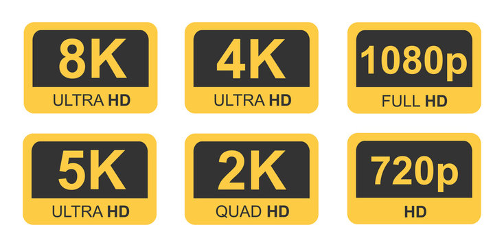 Golden 8K, 4K, 5k Ultra HD Video Resolution Icon Logo; High Definition TV / Game Screen monitor display Label