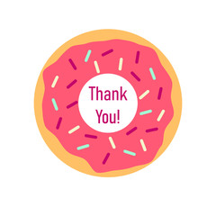 Thank you pink donut. Clipart image isolated on white background