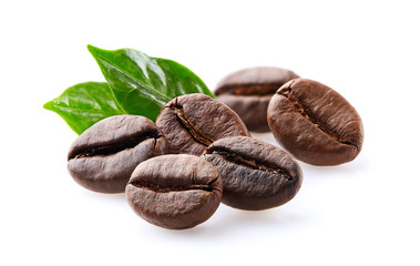 Coffee beans in closeup on white background
