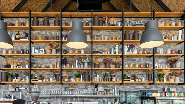 Collection wooden shelf with bottle, plant on counter bar