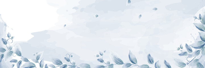 Watercolor banner design with blue branches leaves