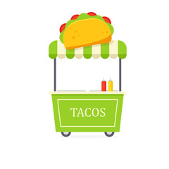 Taco cart icon. Clipart image isolated on white background