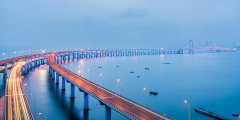 Night scenery of Dalian sea-crossing bridge in Dalian, Liaoning, China Wall mural