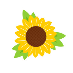 Simple sunflower icon. Clipart image isolated on white background