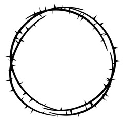 Thorn crown top view . Clipart image isolated on white background