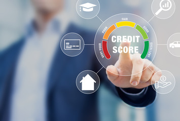 Obraz Credit Score rating based on debt reports showing creditworthiness or risk of individuals for student loan, mortgage and payment cards, concept with business person touching scorecard on screen - fototapety do salonu