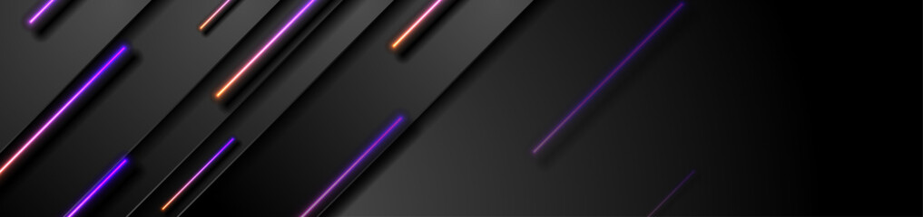 Black tech abstract banner design with violet orange neon laser lines. Glowing modern futuristic background. Vector illustration
