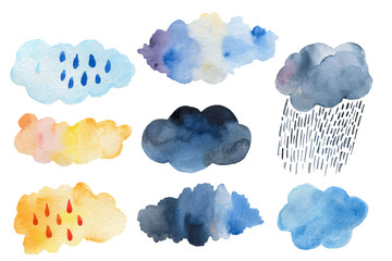 Retro clouds and rain in the sky illustration blue scandinavian style background Retro clouds and rain in the sky illustration blue scandinavian style background Fotobehang