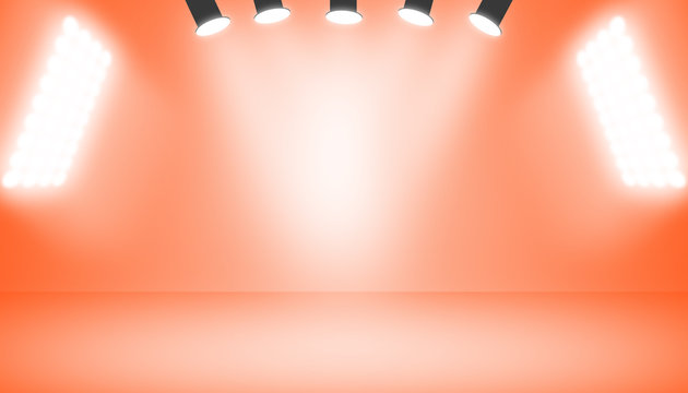 Empty room studio gradient lava red with spotlight used for background and display your product.