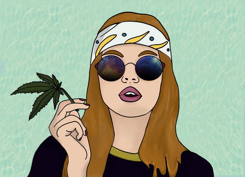 Hippie girl smoke weed with universe glasses and white bandana