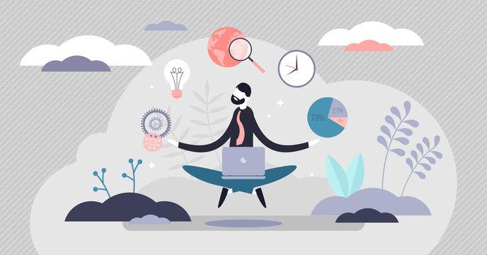Business internet guru concept, work stress balance and financial freedom