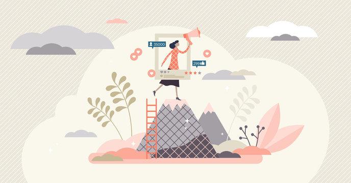 Ambassador program marketing campaign social media activity tiny person concept