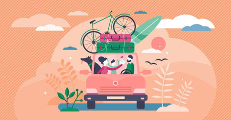 Family camping road trip concept, flat tiny persons vector illustration