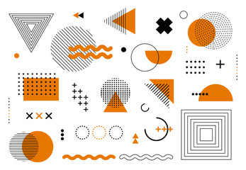Fototapeta Geometric abstract elements memphis style. Set of funky bold constructivism graphics for posters, flyers. Vector yellow and black minimal shapes for modern cover design obraz