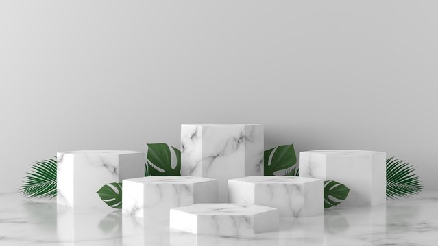 luxury white and monstera, palm leaves Marble Hexagon, cube, square box podium in white background. concept scene stage showcase, product, promotion sale, banner, presentation, cosmetic. 3D rendering