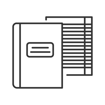 Notebooks black line icon. School supplies. Sign for web page, mobile app, banner, social media. Editable stroke.