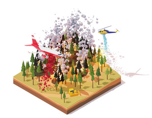 Vector isometric firefighting airplane and helicopter fighting wildfires. Wildfire or bushfire infographic. Airplane dropping fire retardant on trees, water bomber helicopter over burning forest