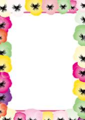 パンジーのカラフルな花の背景素材縦長のフレーム