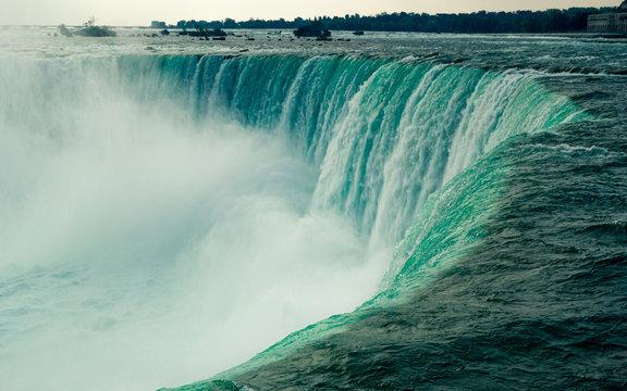 In the edge of the large Horseshoe falls in Niagara Falls