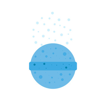 Bath bomb isolated on transparent background. Pink cosmetic spa ball with shadow. Realistic style. Vector illustration.
