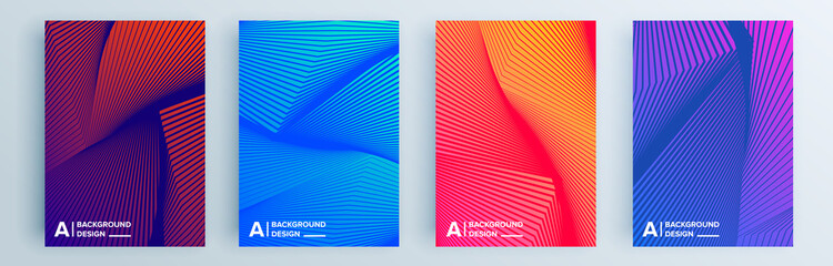 Papiers peints Abstract wave Modern abstract covers set, minimal covers design. Colorful geometric background, vector illustration.