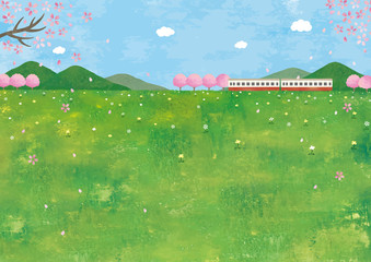 桜と電車と草原の水彩の景色