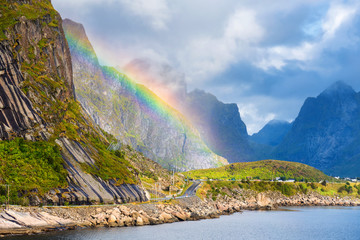 A typical Lofoten bay view. Scene on a lovely day with. Lofoten Islands are popular tourist destination for people from around the world and still gaining popularity. Norway Europe