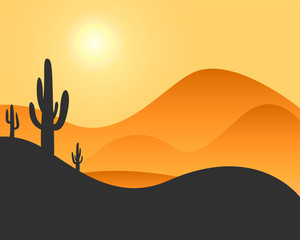 Recess Fitting Gray traffic Desert landscape with cactus and hills with sunset. Silhouettes of cactus. Flat cartoon. Vector illustration, EPS 10.