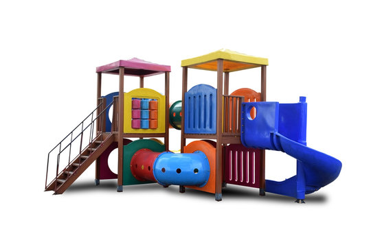 Colorful Combination playground structure for small children; slides, climbers (stairs in this case), playhouse Isolated on white background