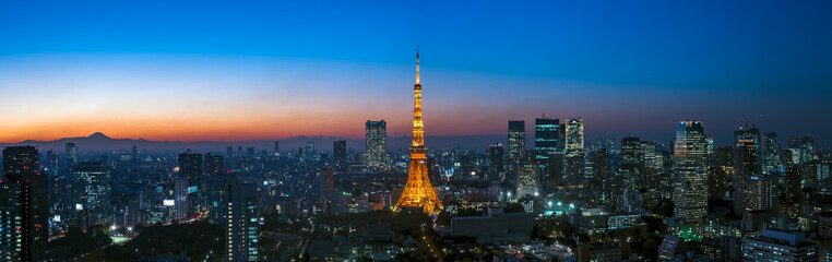 Poster Tokyo Panorama image of Tokyo tower and skyscrapers at magic hour