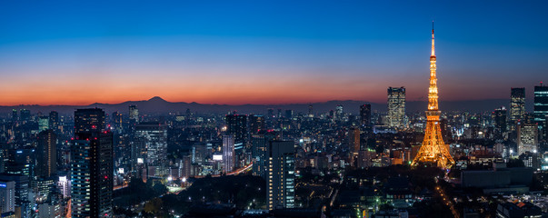 Panorama image of Tokyo tower and skyscrapers at magic hour