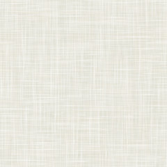 Natural white gray french woven linen texture background. Old ecru flax fibre seamless pattern. Organic yarn close up weave fabric wallpaper. Ecru beige burlap fine canvas. Cloth effect repeat tile