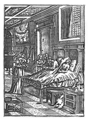 Antique vintage historical engraving or drawing of two sick man lying in bed in care of three women. Treatment, Healthcare in the Past.Illustration from Book Die Betrubte Und noch Ihrem Beliebten