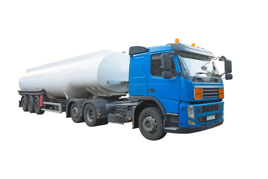 Truck with trailer cistern for liquid cargo, fuel. Isolated on white background.