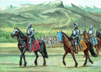 Armoured mounted knights and mercenary go to battle. Historical illustration..