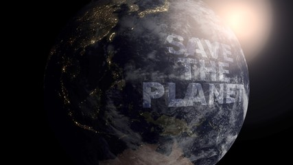 Save The Planet concept with a realistic Earth and 3D text