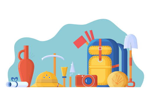 Vector flat style illustration with collection set for archaeologist. Expedition equipment, a backpack and tools, a camera and a cork helmet. Excavations and finds - a stone with a skeleton and a jug