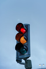 Special heart sign on the red traffic light -- Akureyri, Iceland