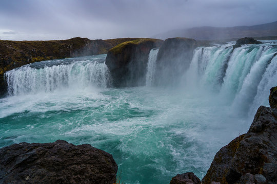 The grand waterfall Godafoss, Iceland