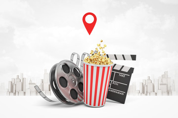 3d rendering of popcorn bucket, film reel, movie clapper on white city skyscrapers background