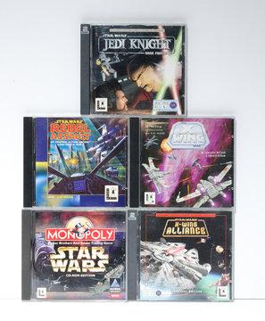 london, england, 05/05/2019 Retro Starwars pc cd rom video games. Jedi knights, dark side darth vader classic arcade games. space battles rebel alliance and millennium falcon.