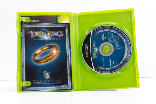 london, england, 01/02/2018 xbox original lord of the ring video games. The fellowship of the ring. JR Tolkien books to video game conversion. blockbuster special effects film fantasy in new zealand.