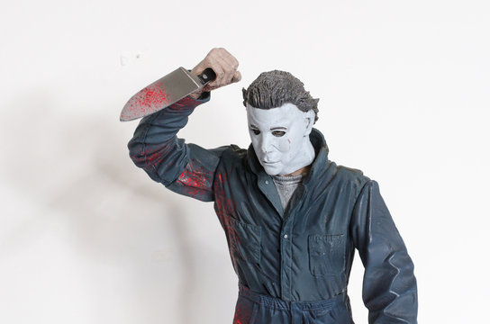 london, england, 05/05/2018 Michael myers serial killer action figure with knife from the film halloween. A thriller and suspense movie film from thew 1990s.  created by john carpenter