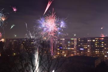 Silvester Feuerwerk in der Stadt