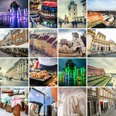 Collage of sights and scenes of Warsaw, Poland